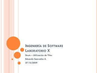 Ingeniería de Software Laboratorio  X