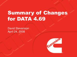 Summary of Changes for DATA 4.69
