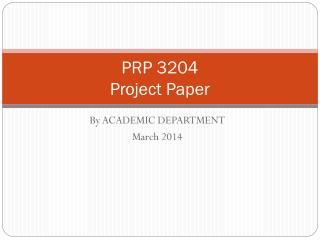 PRP 3204 Project Paper
