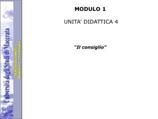 MODULO 1 UNITA' DIDATTICA 4