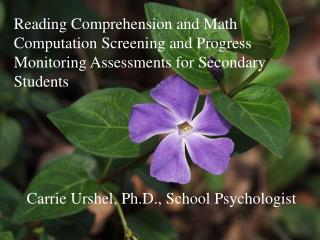 Carrie Urshel, Ph.D., School Psychologist