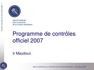 Programme de contr�les officiel 2007