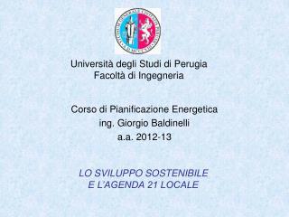 Università degli Studi di Perugia Facoltà di Ingegneria