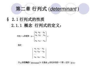 第二章 行列式 ( determinant  )
