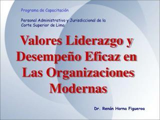 Valores Liderazgo y  Desempeño Eficaz en  Las Organizaciones Modernas