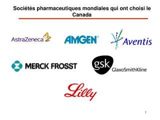Sociétés pharmaceutiques mondiales qui ont choisi le Canada