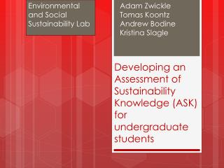 Developing an Assessment of Sustainability Knowledge (ASK) for  undergraduate students