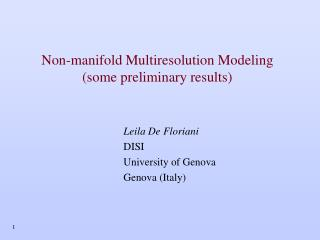 Non-manifold Multiresolution Modeling (some preliminary results)