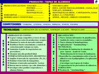PRODUCTO : TAPAS DE ALUMINIO