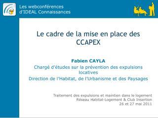 Le cadre de la mise en place des CCAPEX