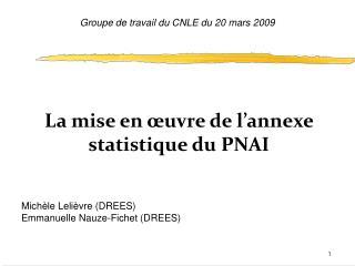 La mise en œuvre de l'annexe statistique du PNAI