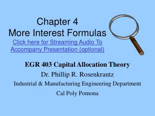 EGR 403 Capital Allocation Theory Dr. Phillip R. Rosenkrantz