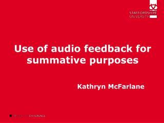 Use of audio feedback for summative purposes
