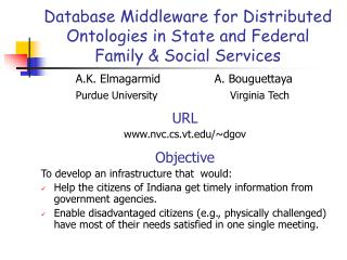 Database Middleware for Distributed Ontologies in State and Federal  Family & Social Services