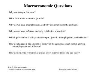 Macroeconomic Questions