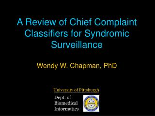 A Review of Chief Complaint Classifiers for Syndromic Surveillance
