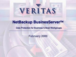NetBackup BusinesServer   Data Protection for Business Critical Workgroups