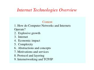 Internet Technologies Overview