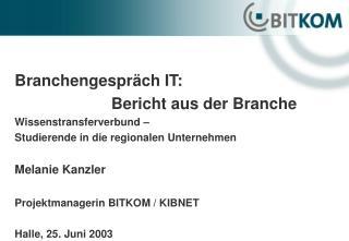 Branchengespr�ch IT:  Bericht aus der Branche Wissenstransferverbund �