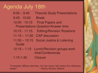 Agenda July 18th