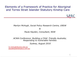 Marilyn McHugh, Social Policy Research Centre, UNSW & Paula Hayden, Consultant, NSW
