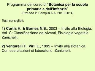 """Programma del corso di """" Botanica per la scuola primaria e dell'infanzia """""""