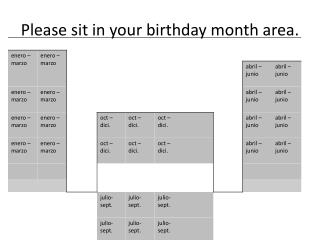 Please sit in your birthday month area.