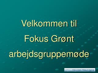 Velkommen til Fokus Grønt arbejdsgruppemøde