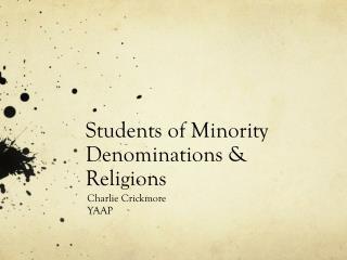 Students of Minority Denominations & Religions