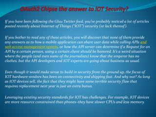 OAuth2 Chipset… the answer to IOT Security?