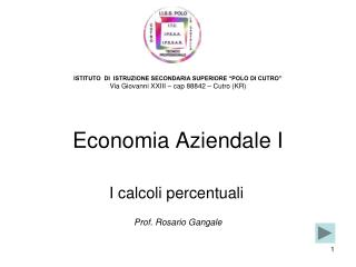 Economia Aziendale I