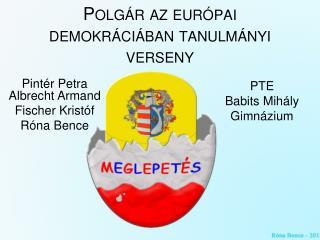 Polgár az európai demokráciában tanulmányi verseny
