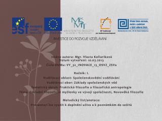 Jméno  autora : Mgr. Vlasta  Kollariková Datum vytvoření : 10.03.2013
