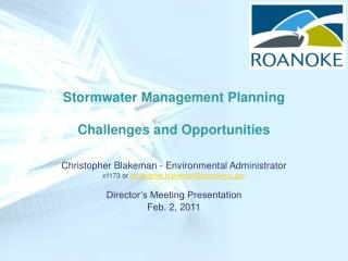 Stormwater Management Planning Challenges and Opportunities