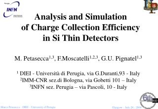 Analysis and Simulation  of Charge Collection Efficiency  in Si Thin Detectors