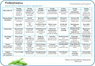 Frokostmenu Uge 37 fra den 8. september til den 14. september 2014