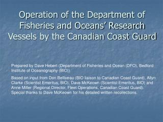Operation of the Department of Fisheries and Oceans' Research Vessels by the Canadian Coast Guard