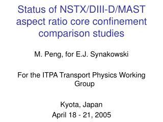 Status of NSTX/DIII-D/MAST aspect ratio core confinement comparison studies