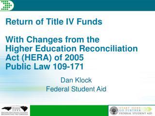 Dan Klock Federal Student Aid