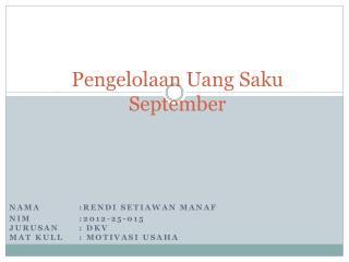 Pengelolaan Uang Saku  September