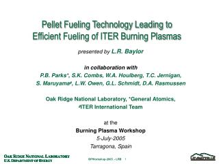 Pellet Fueling Technology Leading to  Efficient Fueling of ITER Burning Plasmas