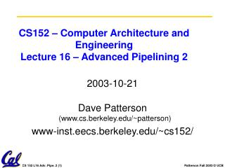 CS152 – Computer Architecture and Engineering Lecture 16 – Advanced Pipelining 2