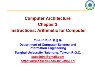 Computer Architecture Chapter 3 Instructions: Arithmetic for Computer