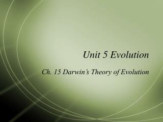 Unit 5 Evolution