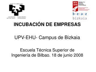 INCUBACIÓN DE EMPRESAS UPV-EHU- Campus de Bizkaia