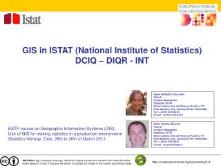 GIS in ISTAT (National Institute of Statistics) DCIQ – DIQR - INT