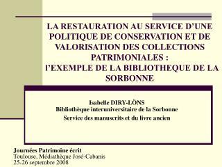 Isabelle DIRY-L�NS Biblioth�que interuniversitaire de la Sorbonne