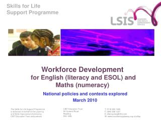 Workforce Development  for English (literacy and ESOL) and Maths (numeracy)