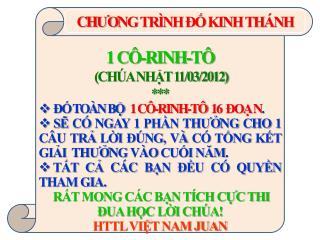 1 CÔ-RINH-TÔ  (CHÚA NHẬT 11/03/2012) *** ĐỐ TOÀN BỘ    1 CÔ-RINH-TÔ  16  ĐOẠ N .
