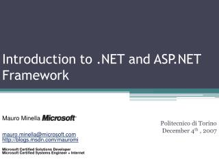 Introduction to .NET and ASP.NET Framework